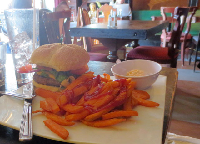 spicy-burger-and-sweet-potato-fries-templetons-cafe-kensington-market-toronto