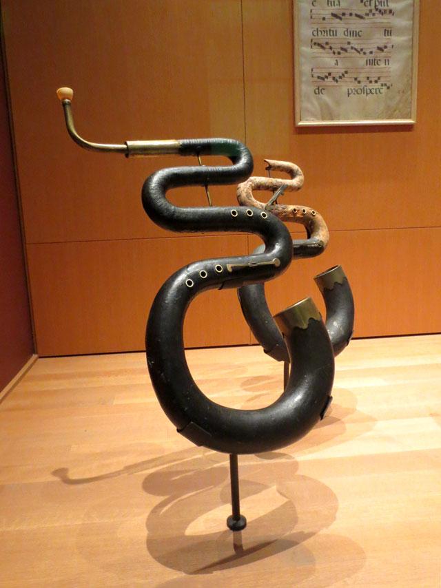 three key leather bound serpent wind instrument circa 1760