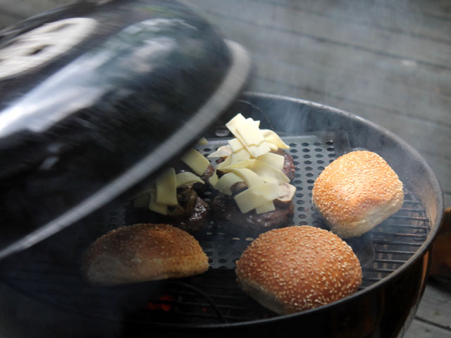 grilling burgers from sanagans meat locker