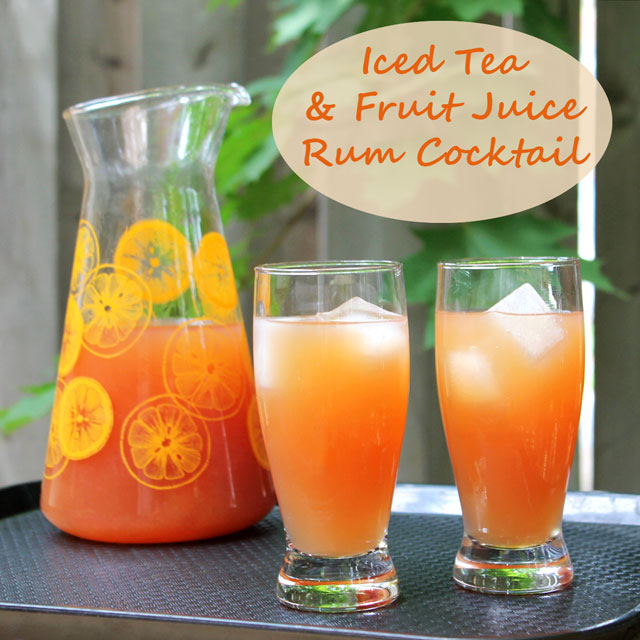 iced tea and fruit juice rum punch cocktail by the pitcher recipe