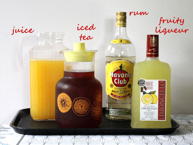 ingredients to make an iced tea and rum punch cocktail