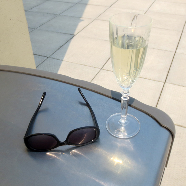bubbly wine on a rooftop