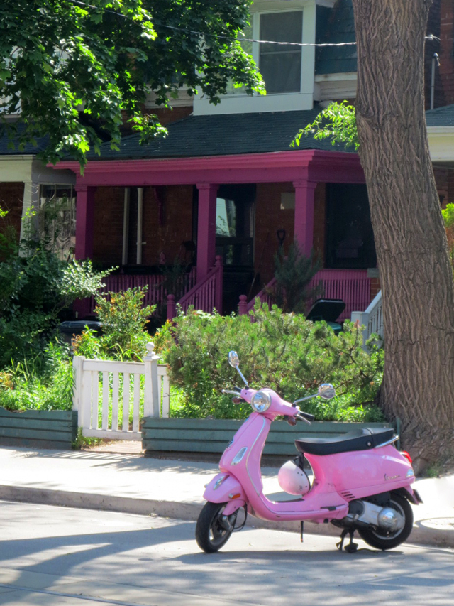 pink-electric-bike-purple-house