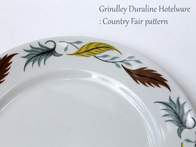 grindley duraline hotelware country fair pattern with leaves vintage