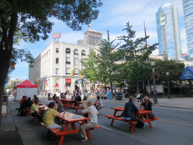 picnic-tables-on-john-street-tiff-festival