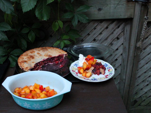 seasoned peaches and ontario peach and blueberry pie for dessert
