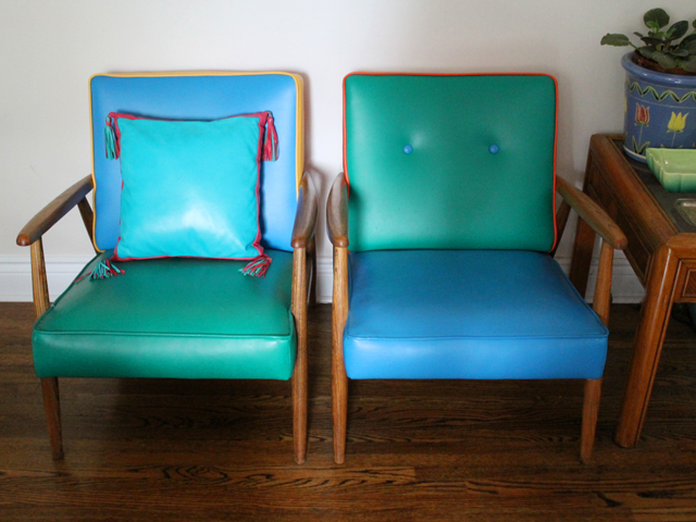 thrifted leather cushion on vintage colour block chairs