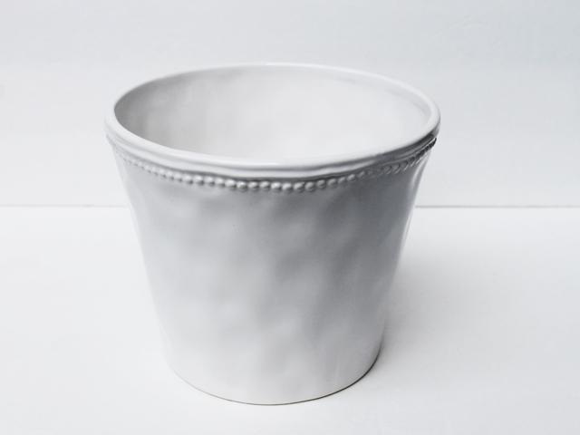 thrifted plant pot white ceramic