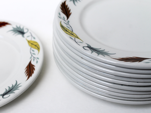 thrifted vintage grindley side plates duraline vitrified hotelware country fair pattern