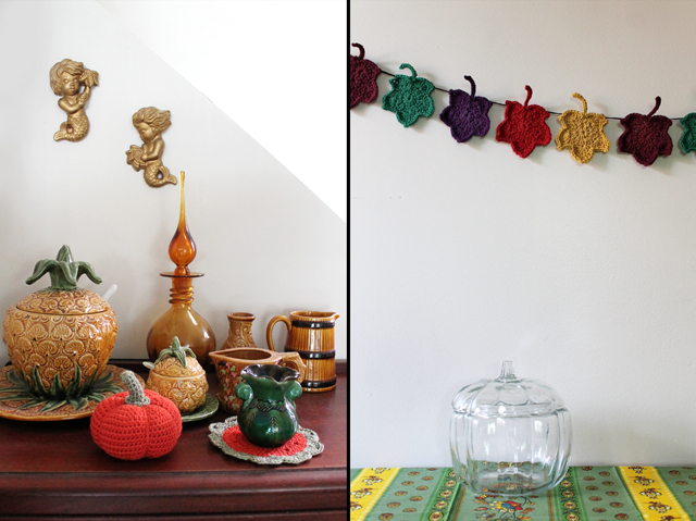 crocheted autumn decorations thanksgiving halloween crochet pumpkin doily and leaf garland