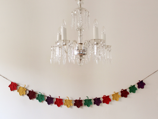 crocheted autumn garland coloured maple leaves