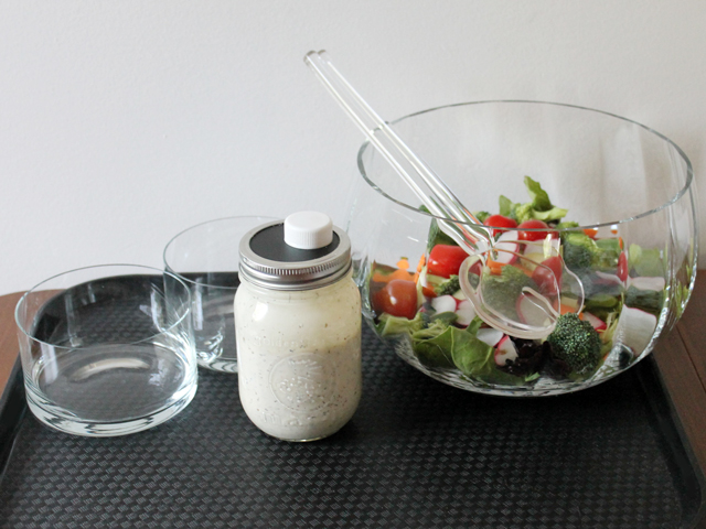 diy for a nice looking salad dressing jar with pouring spout and salad dressing recipe