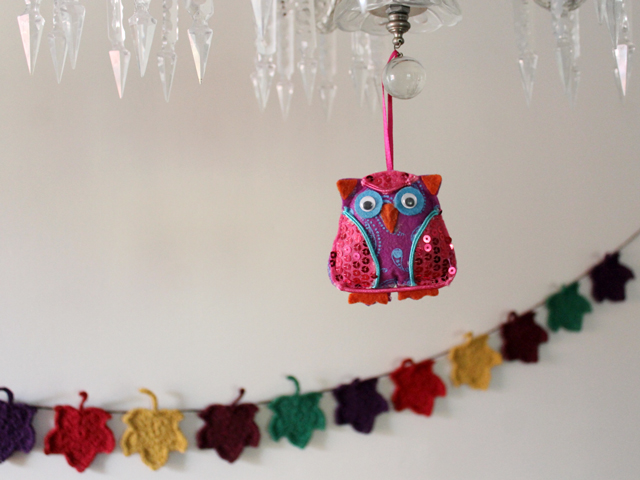 felt and sequins owl decoration