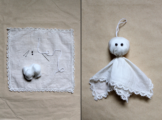 halloween decoration little ghost made from a vintage hanky