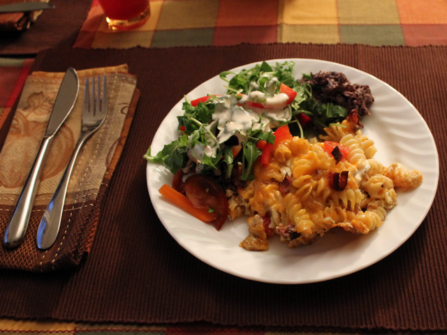 halloween meal mac and cheese mexican black beans and tossed salad