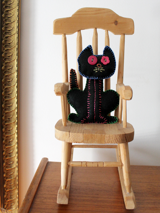 handmade felt cat embroidered