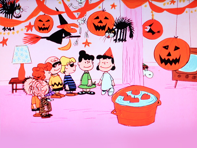 shot of tv screen charlie brown the great pumpkin