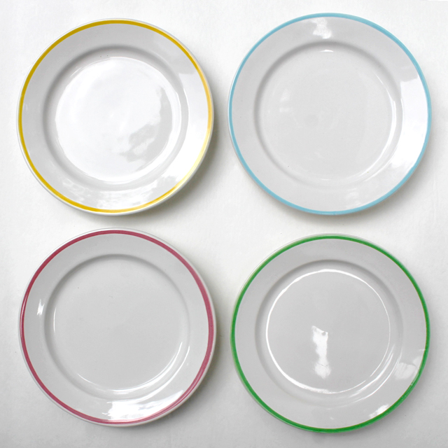 thrifted-bread-and-butter-plates-four-each-with-a-different-coloured-band