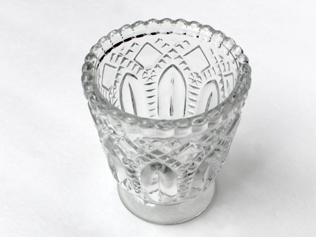 thrifted pressed glass votive candle holder