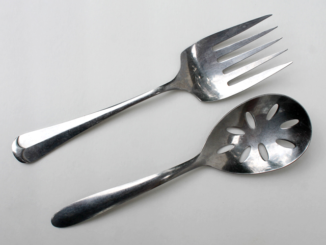 thrifted stainless serving pieces slotted spoon and meat fork