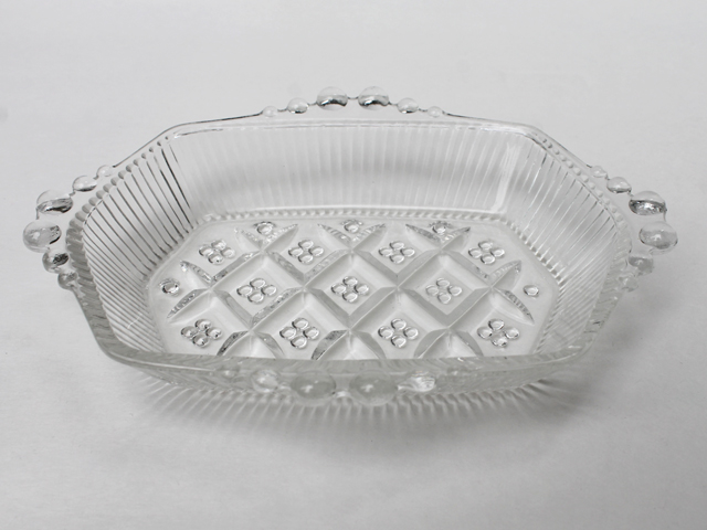 thrifted vintage glass dish possibly candlewick soap dish