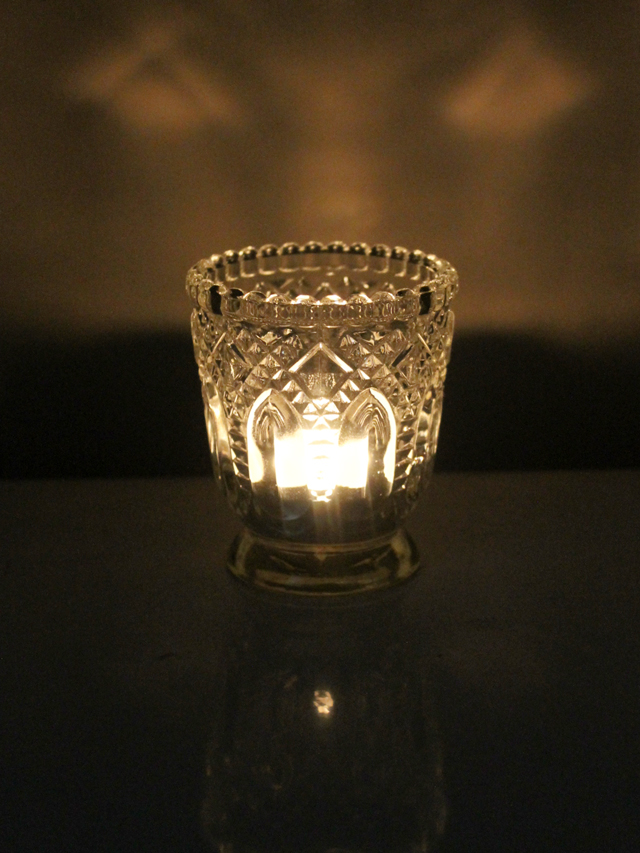 thrifted votive candle holder pressed glass