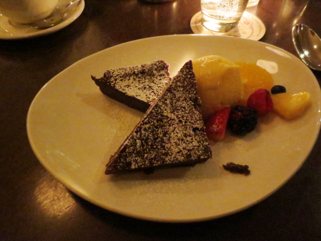 chocolate cake and mango ice cream at le select bistro
