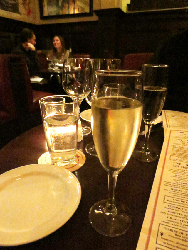 glass of champagne in a romantic restaurant toronto