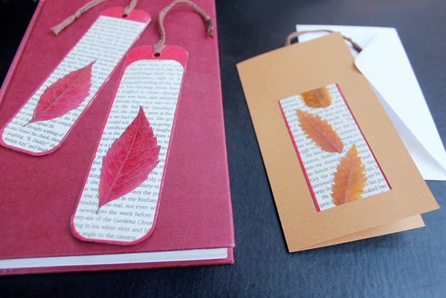 How to make a greeting card and a bookmark combined loulou downtown handmade bookmark with pressed leaves inserted into handmade greeting card m4hsunfo