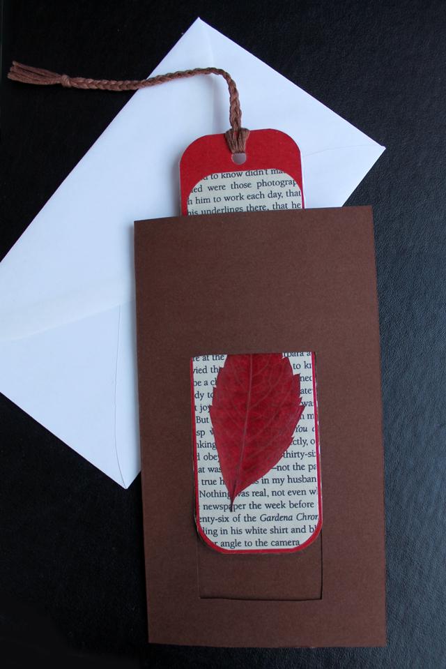 handmade-greeting-card-with-handmade-bookmark-pressed-leaf