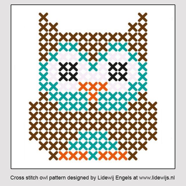cross stitch owl pattern designed by liewij engels