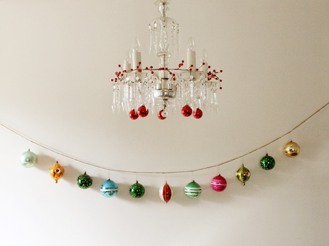 garland made with vintage christmas ornaments