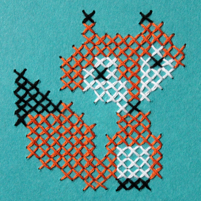 how to cross stitch on paper fox