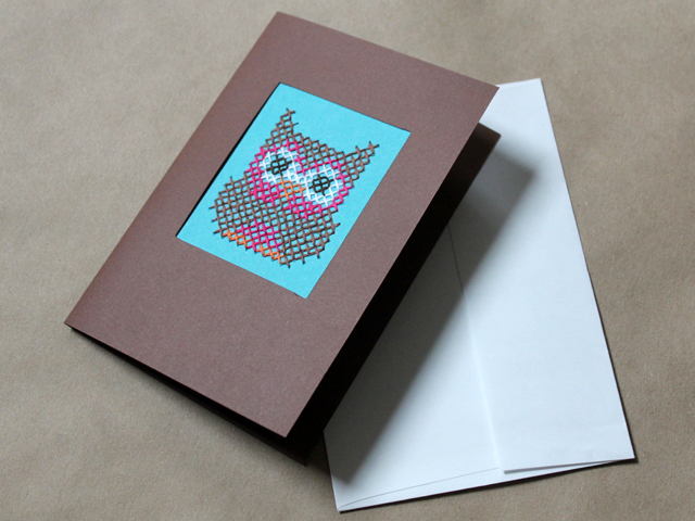 owl cross stitched on paper and made into a greeting card how to