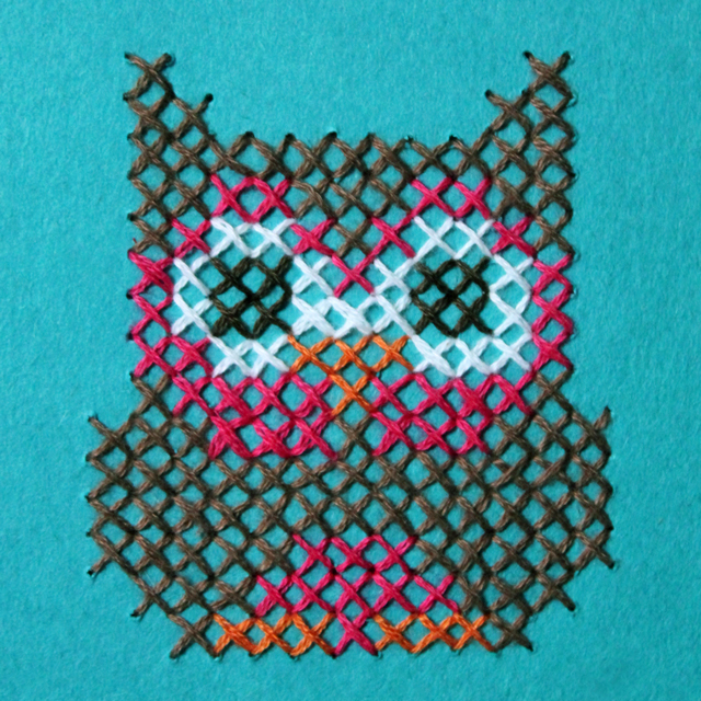 owl cross stitched on paper handmade