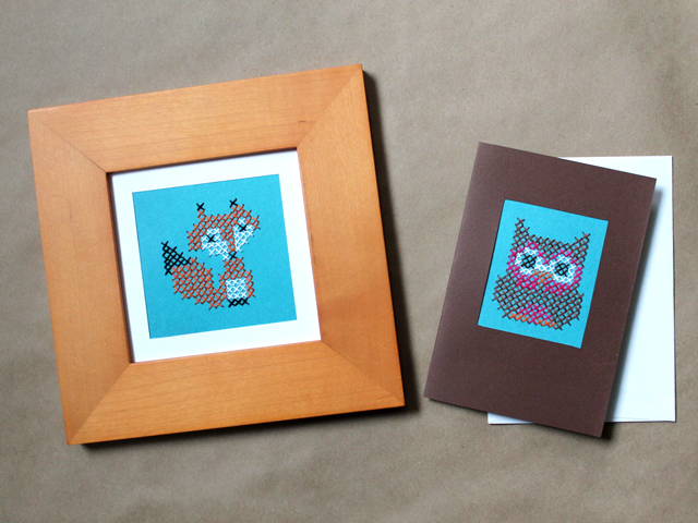 How to Cross Stitch on Paper : A Fox and an Owl
