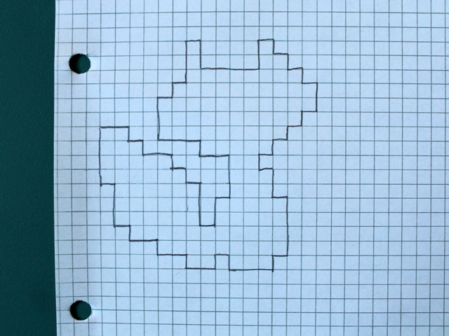 Transferred Cross Stitch Pattern To Graph Paper