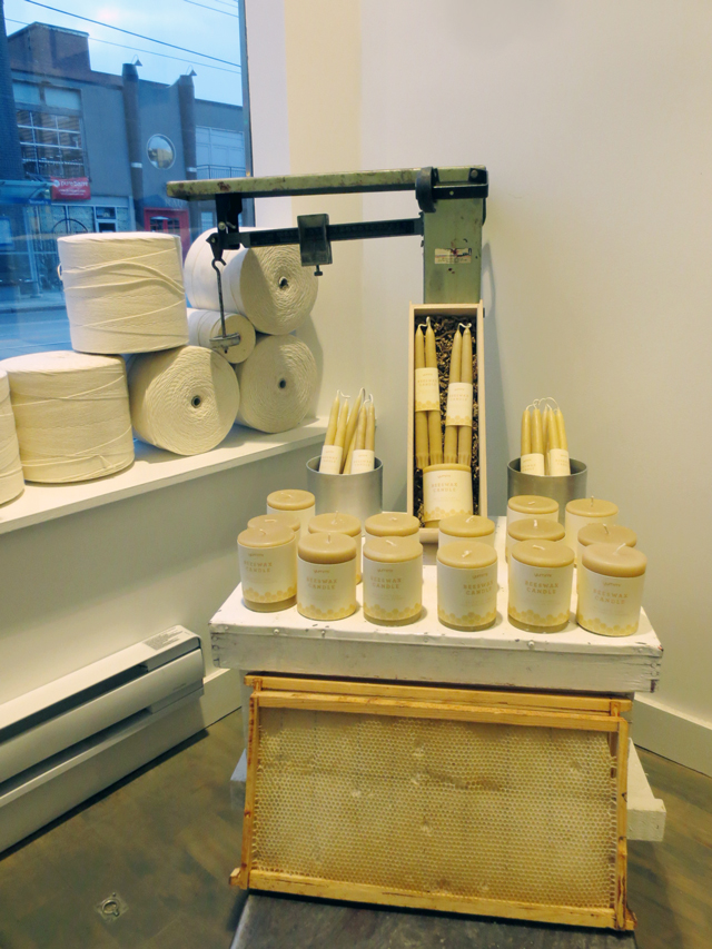 beeswax-candle-display-at-yummi-candle-shop-queen-street-west-toronto