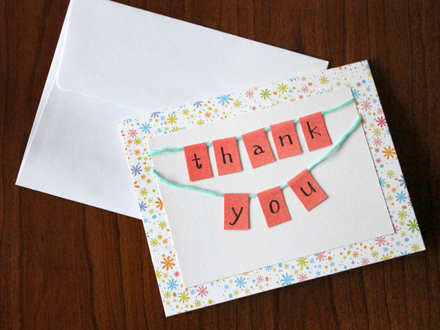 Attractive How To Make A Little Bunting Thank You Card Loulou Downtown . Inside How To Make A Thank You Card In Word