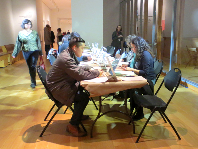 self portrait drawing station at ago friday nights event