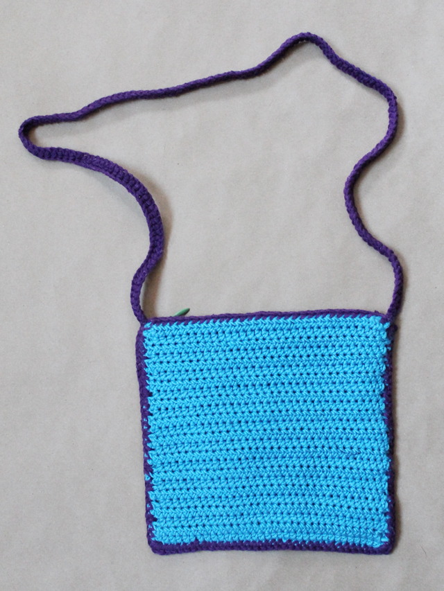 back of crocheted purse