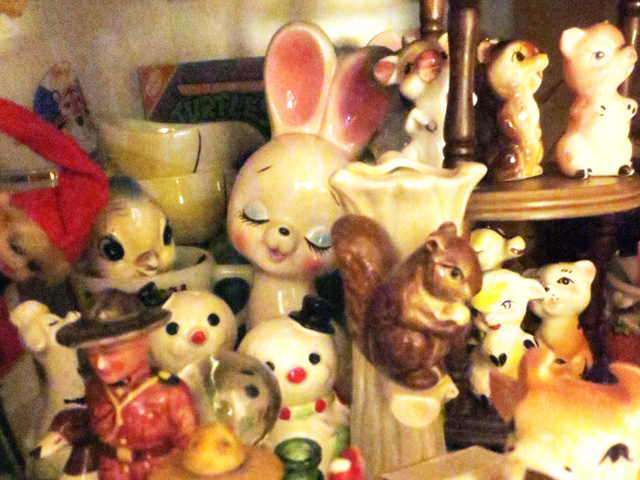 cabinet with vintage figurines