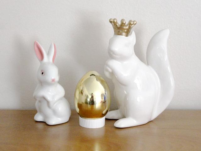ceramic rabbit and squirrel