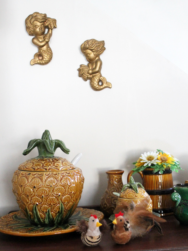 chalkware mermaids and easter cat toys