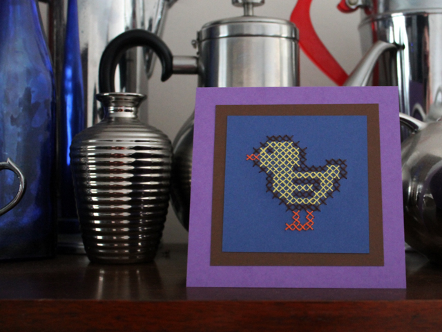 cross stitch chick handmade easter card