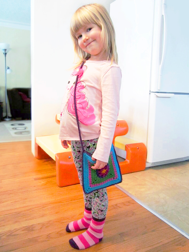 d with her handmade purse