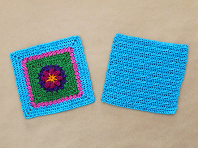 front and back pieces of handmade crocheted purse bag