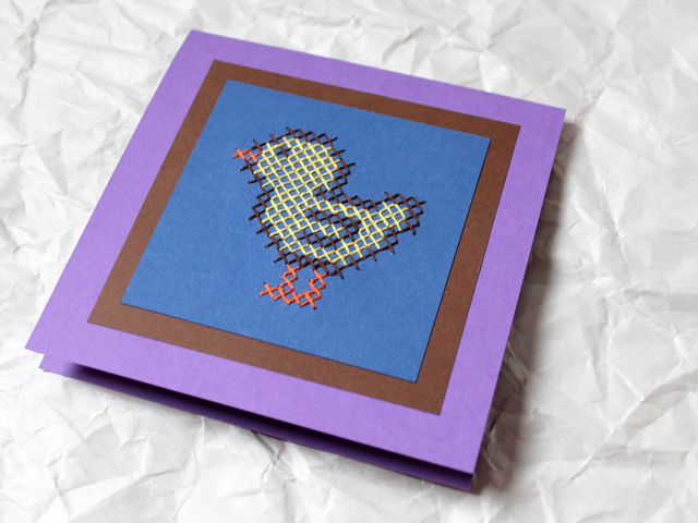handmade easter card cross stitch on paper