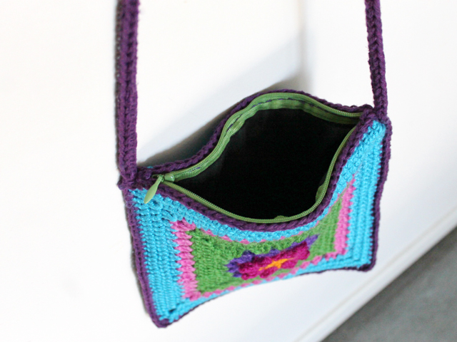 lining with zipper handsewn inside crocheted purse