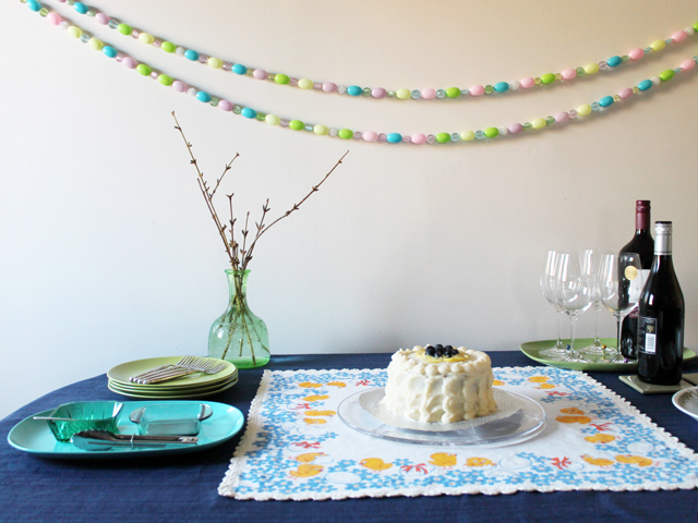 table with easter cake